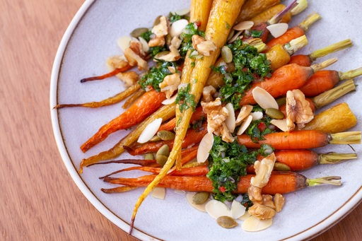 Grilled carrots, Moroccan spices, mint, honey & nuts
